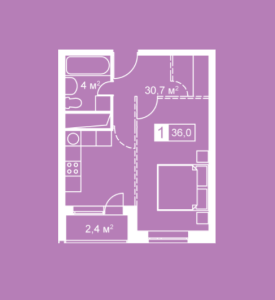 Планировка 1-комнатной квартиры в Атмосфера